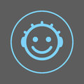 Baby face smile circular line icon. Round colorful sign. Flat style vector symbol