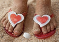 Baby feet in beach Slippers Royalty Free Stock Photo