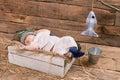Baby fisherman sleeping. Royalty Free Stock Photo