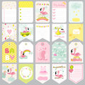 Baby Flamingo Tags. Baby Banners. Scrapbook Labels. Cute Cards Royalty Free Stock Photo