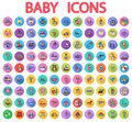 Baby flat vector icon set Royalty Free Stock Photo