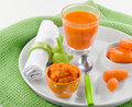 Baby food healthy pureed carrot and juice Stock Photo