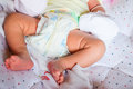Baby foot on bed Royalty Free Stock Photo