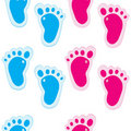 Baby foot steps background, seamless pattern Stock Photo