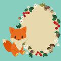 Baby fox frame forest childish with cute Stock Images