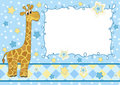 Baby frame. Giraffe. Royalty Free Stock Photo