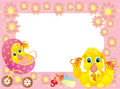 Baby framework for photo with bunny, vector  Royalty Free Stock Image
