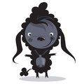 Baby funny cartoon bad black sheep with a big bell Royalty Free Stock Photo