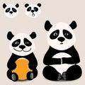 Baby funny cartoon bear panda sitting with various emotions