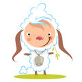Baby funny cartoon sheep with a big bell graze grass chewing Stock Photography