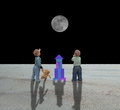 Baby games two boys with their space shuttle looking at a moon in space Stock Photo