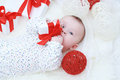 Baby with gift in hands nice boy age of months Stock Image