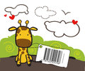 Baby giraffe toy with a bar code Stock Image