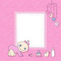 Baby girl announcement card vector illustration Royalty Free Stock Photos