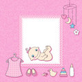 Baby girl announcement card vector illustration Stock Photos