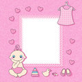 Baby girl announcement card vector illustration Stock Photography