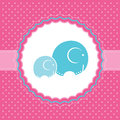 Baby girl announcement card vector illustration with elephants Stock Photo