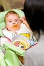 Baby girl appetite Stock Photography