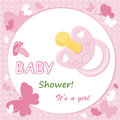Baby girl arrival announcement card Stock Photos