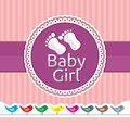 Baby girl arrival announcement card vector illustration of the Stock Images
