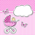 Baby girl arrival announcement editable vector illustration Stock Photo