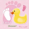 Baby girl arrival card Royalty Free Stock Photography