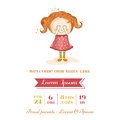 Baby girl arrival card with in Royalty Free Stock Images