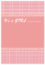 Baby girl arrives vector illustration of arrival card Stock Photo
