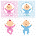 Baby girl and baby boy infants vector illustration Royalty Free Stock Photos
