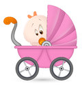 Baby Girl in Baby Carriage Royalty Free Stock Image
