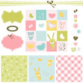 Baby girl backgrounds design elements for scrapbook Royalty Free Stock Photo