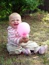 Baby girl with balloon Royalty Free Stock Photos