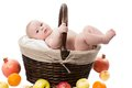 Baby girl in a basket with fruits Royalty Free Stock Images