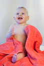 Baby girl after bath towel happy Royalty Free Stock Images