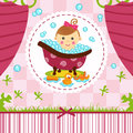 Baby girl in bath vector illustration Stock Photography