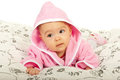 Baby girl in bathrobe Royalty Free Stock Photo