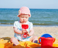 Baby girl on the beach Royalty Free Stock Photos