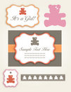Baby Girl - Bear Invitation Set Royalty Free Stock Images