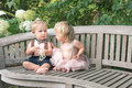 Baby girl and boy sitting on wooden bench Royalty Free Stock Photo