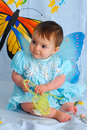 Baby girl with butterfly wings Royalty Free Stock Photos