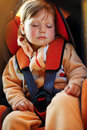Baby girl  in car Stock Photo