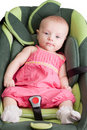 Baby Girl in a Car Seat Stock Image
