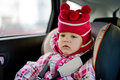 Baby girl in car seat winter time Royalty Free Stock Image