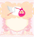 Baby girl card a stork delivering a cute Stock Image