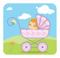 Baby  girl in carriage Royalty Free Stock Photo