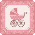 Baby girl carriage congratulatory vintage postcard for with pink congratulate newborn retro style Royalty Free Stock Photos