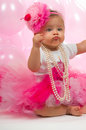 Baby girl celebrating her birthday Stock Photo