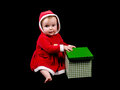 Baby girl in christmas costume cute little wearing on black background Royalty Free Stock Photos