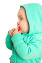 Baby girl in coat with hood Royalty Free Stock Images