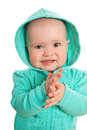 Baby girl in coat with hood Stock Photography